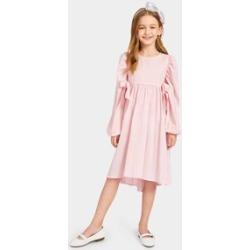 Girls Lantern Sleeve Dip Hem Knot Dress