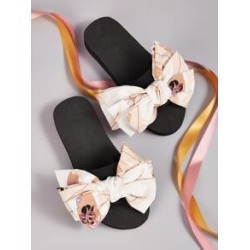 Bow Decor Open Toe Sliders found on Bargain Bro India from Sheinside for $7.00