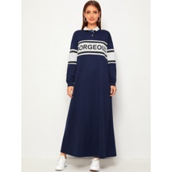 Letter Color-block Contrast Collar Hijab Dress