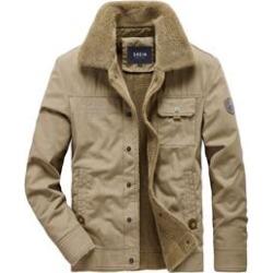 Men Letter Embroidered Sherpa Lined Jacket