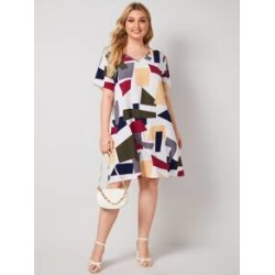 Plus Colorblock Geo Print Dress found on MODAPINS from Sheinside for USD $12.00