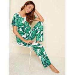 Tropical Print Pajama Set