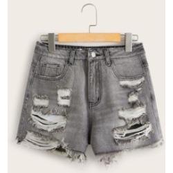 Raw Hem Ripped Detail Denim Shorts