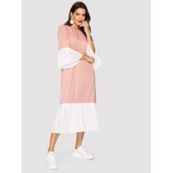 Color-block Pleated Ruffle Hijab Dress