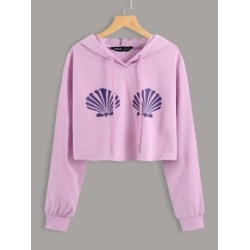 Shell Print Drawstring Hooded Sweatshirt found on MODAPINS from Sheinside for USD $14.00
