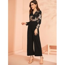 Surplice Wrap Sequin Embroidered Wide Leg Jumpsuit found on Bargain Bro Philippines from Sheinside for $20.00