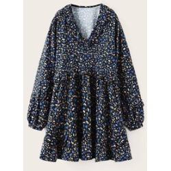 Ditsy Floral Print Ruffle Trim Smock Dress