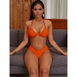 Twist Halter Top With High Cut Bikini Set found on Bargain Bro Philippines from SHEIN for $20.72