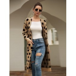 Polka Dot Pocket Detail Cardigan found on Bargain Bro India from Sheinside for $26.00