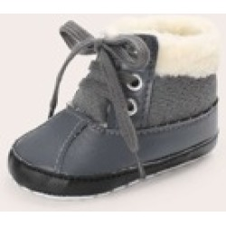 Baby Boys Teddy Lined Lace Up Booties