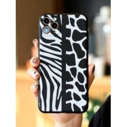 Zebra Striped & Cow Pattern iPhone Case found on Bargain Bro Philippines from Sheinside for $2.00