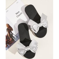 Metallic Bow Decor Open Toe Sliders found on Bargain Bro India from Sheinside for $6.00