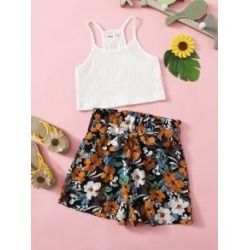 Girls Rib-knit Cami Crop Top & Paperbag Waist Belted Floral Shorts Set found on Bargain Bro Philippines from Sheinside for $8.00