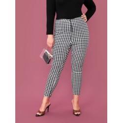 Plus O-ring Zip Front Gingham Skinny Pants