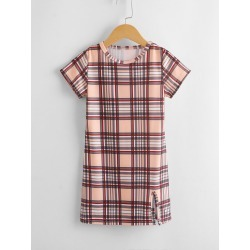 Toddler Girls Plaid Split Side Tee Dress found on Bargain Bro from SHEIN for USD $5.89
