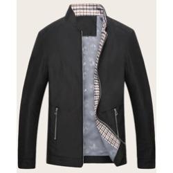 Men Stand Collar Zip Through Jacket