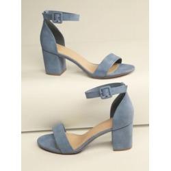 Open Toe Ankle Strap Block Heel Sandals