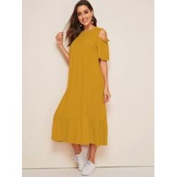 Cold Shoulder Drop Waist Tunic Hijab Dress