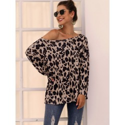 Leopard Long Sleeve Oversized Tee found on Bargain Bro Philippines from SHEIN for $20.72