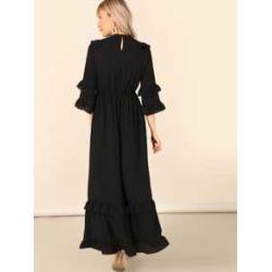 Layered Flounce Trim Keyhole Back Hijab Dress