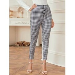 Button Front Gingham Skinny Pants