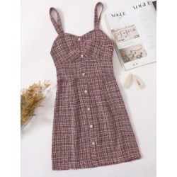 Pearl Button Front Tweed Dress