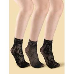 3pairs Lace Trim Black Socks found on Bargain Bro from Sheinside for USD $2.66