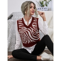 Graphic Pattern V Neck Sweater Vest found on Bargain Bro India from SHEIN for $15.97