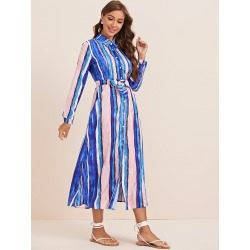 Multi-stripe Belted Shirt Dress found on Bargain Bro from SHEIN for USD $27.02