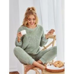 Star Embroidery Flannel Pajama Set