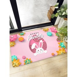 Cartoon Rabbit & Flower Print Floor Mat found on Bargain Bro India from SHEIN for $8.82