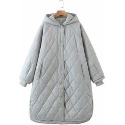 Raglan Sleeve Quilted Hooded Coat