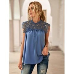 Guipure Lace Panel Blouse found on Bargain Bro Philippines from Sheinside for $17.00