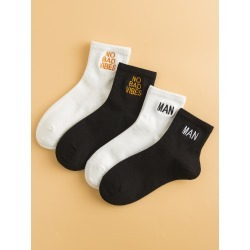 4pairs Men Letter Embroidery Socks found on Bargain Bro from SHEIN for USD $5.89