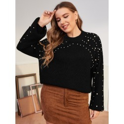 Plus Pearls Detail Drop Shoulder Sweater found on Bargain Bro from SHEIN for USD $16.97