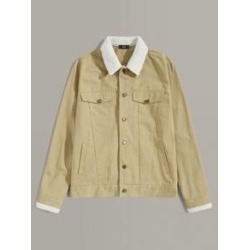 Men Fleece Collar Button Up Overshirt