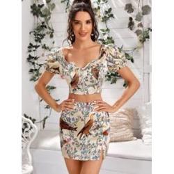 Zip Up Floral & Animal Satin Crop Top & Skirt Set