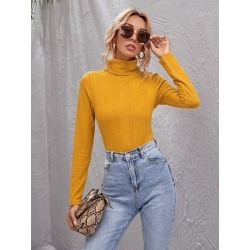 Funnel Neck Solid Fitted Tee found on Bargain Bro from SHEIN for USD $6.41