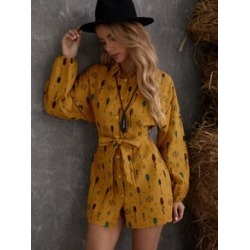 Graphic Print Drop Shoulder Belted Shirt Dress found on Bargain Bro Philippines from Sheinside for $21.00