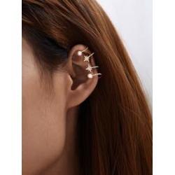 Rhinestone Engraved Star & Faux Pearl Decor Ear Cuff 1pair found on Bargain Bro India from Sheinside for $3.00