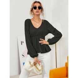 Solid Rib-knit V Neck Peplum Tee found on Bargain Bro India from SHEIN for $14.45