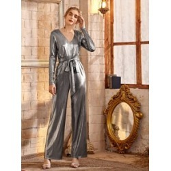 V-neck Zip Back Belted Metallic Jumpsuit