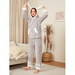 Kangaroo Pocket Flannel Pajama Set