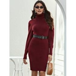 Gigot Sleeve Turtleneck Sweater Dress Without Belt