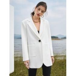 Notch Collar Pocket Front Blazer found on Bargain Bro Philippines from Sheinside for $31.00