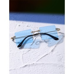 Rimless Square Frame Sunglasses found on Bargain Bro from SHEIN for USD $5.89