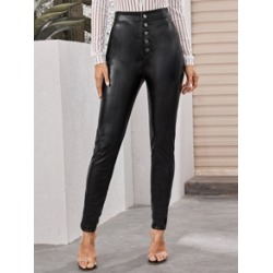 Button Front PU Leather Skinny Pants