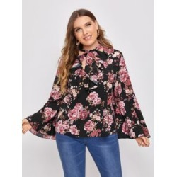 Plus All Over Floral Print Tie Neck Flounce Sleeve Blouse found on Bargain Bro from Sheinside for USD $11.40