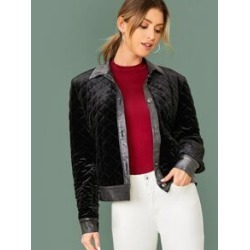 Contrast Glitter Trim Single Breasted Quilted Velvet Jacket found on Bargain Bro India from Sheinside for $30.00