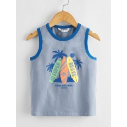 Toddler Boys Letter & Tree Print Tank Top found on Bargain Bro from SHEIN for USD $5.89